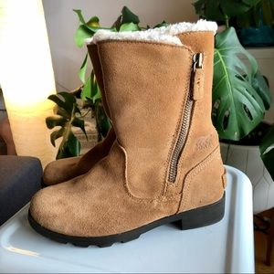Sorel Youth Emelie Foldover Snow Boots Camel Brown